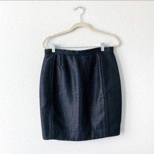 Tish Cox Taffeta Black Shiny Mini High Waist Skirt